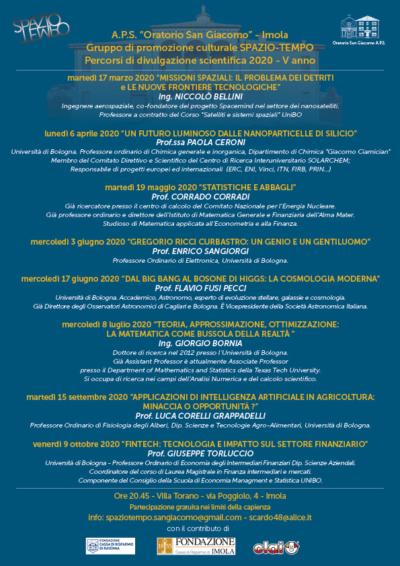 CALENDARIO DELLE INIZIATIVE 2020 - Gruppo di Promozione Culturale SPAZIO TEMPO